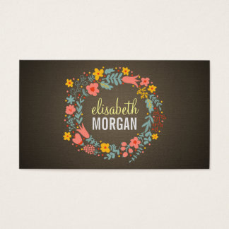 Yoga Teacher - Burlap Floral Wreath Business Card