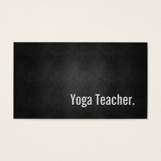 Yoga Teacher Cool Black Metal Simplicity Business Card