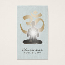 Yoga Teacher Gold Om Symbol Stylish Faux Linen Business Card