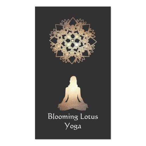 Yoga Teacher Meditation Pose Gold Lotus Business Card Templates