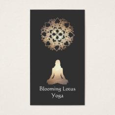 Yoga Teacher Meditation Pose Gold Lotus Business Card at Zazzle
