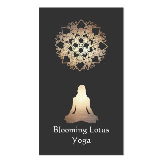 Yoga Teacher Meditation Pose Gold Lotus Double-Sided Standard Business Cards (Pack Of 100)