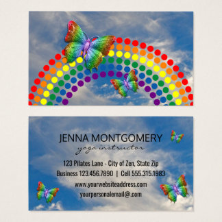Yoga Teacher | Rainbow Sky Butterflies Business Card