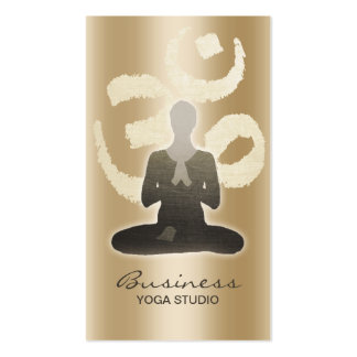 Yoga Teacher Stylish Gold Om Symbol Namaste Business Card