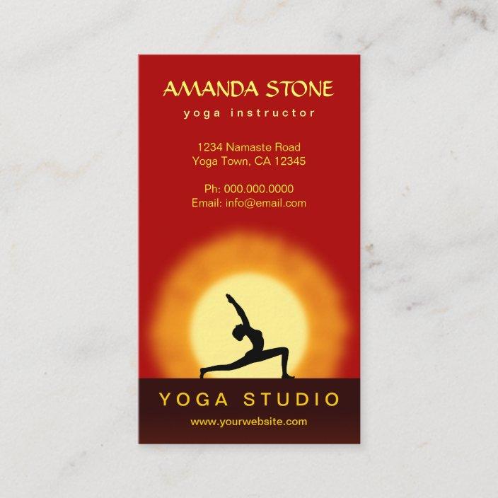 Yoga Teacher Sunrise Pose Vertical Business Cards Zazzle.com