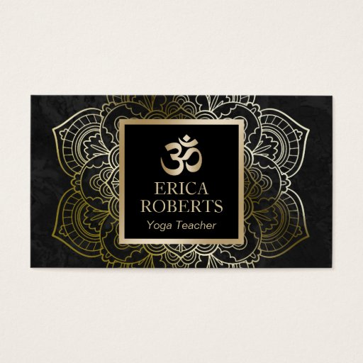 Yoga Teacher Vintage Gold Mandala & Om Sign Business Card