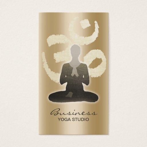 Yoga Teacher Vintage Gold Om Sign Namaste Business Card