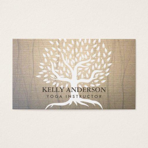 Yoga Teacher Vintage Tree Elegant Business Card
