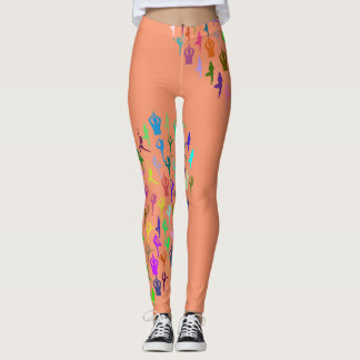 Yoga Theme Colorful  Silhouettes on Any Color Leggings