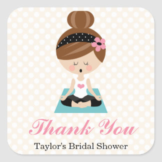 Yoga Themed Bridal Shower Thank You Favor Stickers