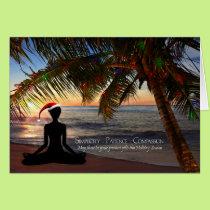 Yoga Themed Christmas on the Beach Card