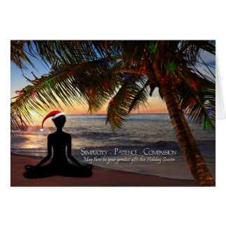 Yoga Themed Christmas on the Beach Card