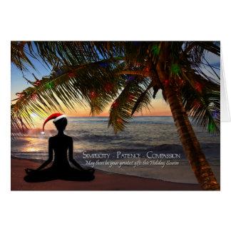 Yoga Themed Christmas on the Beach Greeting Card
