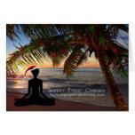 Yoga Themed Christmas on the Beach Greeting Cards