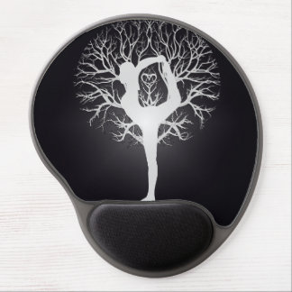 Yoga Tree in Black and White Gel Mouse Mat