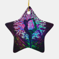 Yoga Tree Peace Rainbow Ceramic Ornament