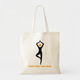 Yoga tree pose black, orange custom budget tote bag
