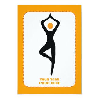 Yoga tree pose black, orange custom card