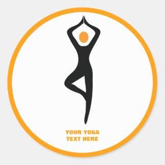Yoga tree pose black, orange custom classic round sticker