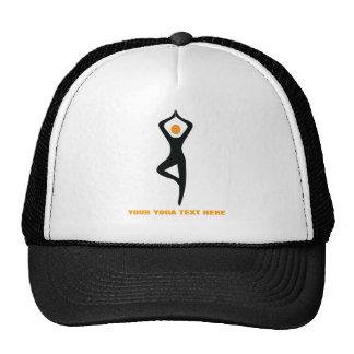 Yoga tree pose black orange custom mesh hats