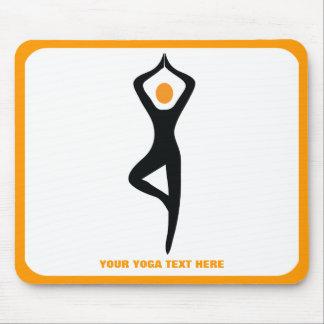 Yoga tree pose black, orange custom mouse pad