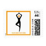 Yoga tree pose black, orange custom postage stamp