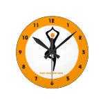 Yoga tree pose black, orange custom round clocks
