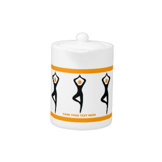 Yoga tree pose black, orange custom teapot