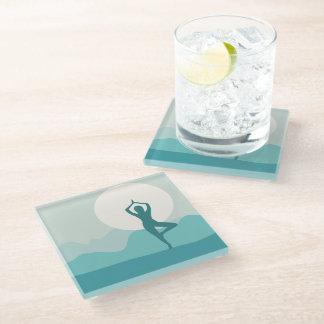 Yoga Tree Pose Glass Coaster