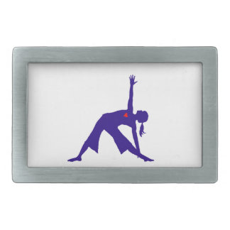 Yoga Triangle Pose Silhouette With Heart Rectangular Belt Buckle