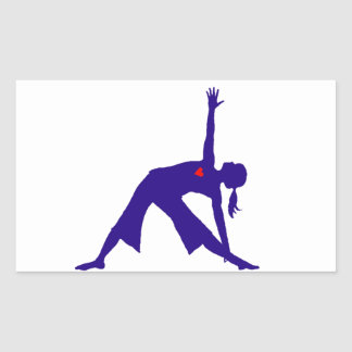 Yoga Triangle Pose Silhouette With Heart Rectangular Sticker