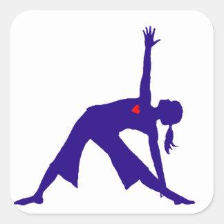 Yoga Triangle Pose Silhouette With Heart Square Sticker
