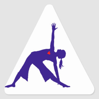 Yoga Triangle Pose Silhouette With Heart Triangle Sticker