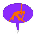 Yoga Triangle Pose With Heart On Purple Background Cake Topper