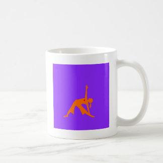 Yoga Triangle Pose With Heart On Purple Background Coffee Mug