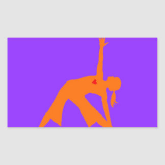 Yoga Triangle Pose With Heart On Purple Background Rectangular Sticker