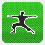 Yoga verde colcomanias cuadradas
