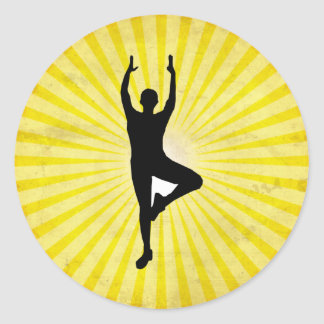 Yoga Vrksasana Pose Classic Round Sticker