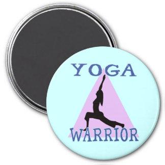 Yoga Warrior 3 Inch Round Magnet