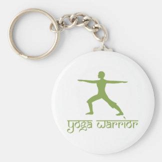 Yoga Warrior Pose Basic Round Button Keychain