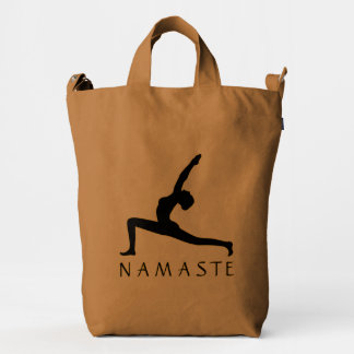 Yoga Warrior Pose Black Profile Silhouette BAGGU Duck Bag
