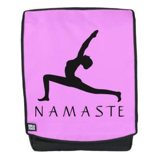 Yoga Warrior Pose Black Silhouette Backbacks Backpack