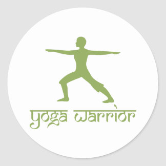 Yoga Warrior Pose Classic Round Sticker
