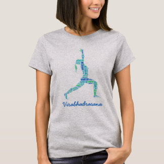 Yoga Warrior Pose In Shades of Blue T-Shirt