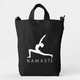Yoga Warrior Pose White Profile Silhouette BAGGU Duck Bag
