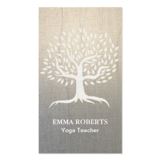 Yoga & Wellness Vintage Tree Elegant Zen Linen Business Card
