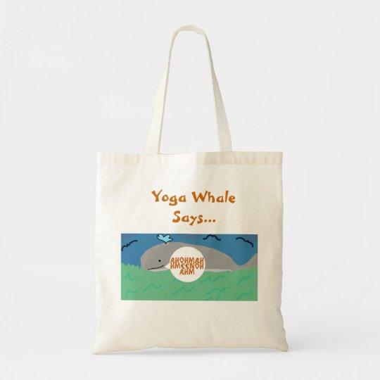 Yoga Whale Says Tote Bag