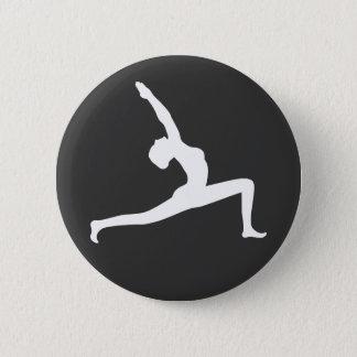 Yoga White Silhouette Woman Posing Round Button