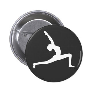 Yoga White Silhouette Woman Posing Round Button Badge