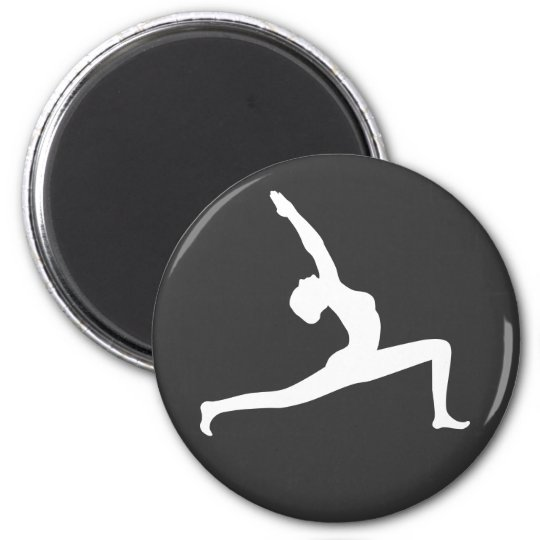 Yoga White Silhouette Woman Posing Round Magnets